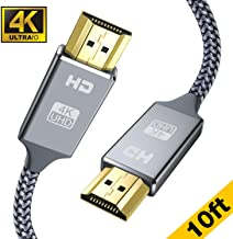 4K HDMI Cable 10ft - Capshi High Speed 18Gbps HDMI 2.0 Cable - HDCP 2.2-4K HDR, 3D, 2160P, 1080P, Ethernet - 28AWG Braided HDMI Cord - Audio Return Compatible UHD TV, Blu-ray, PS4/3, Monitor