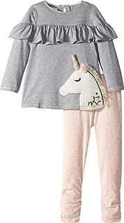 Mud Pie Womens Unicorn Ruffle Tunic and Leggings Two-Piece Set (Infant/Toddler)