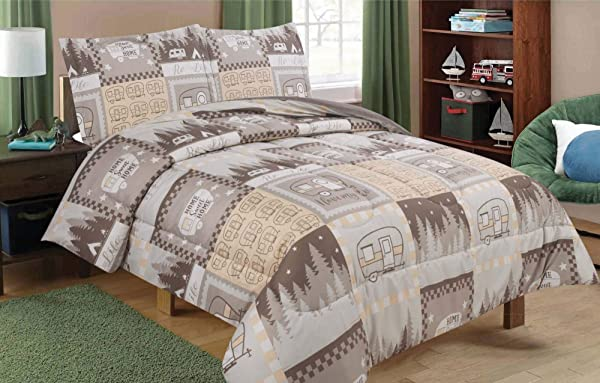 HowPlum Full Queen RV Camping Comforter Bedding Set Motorhome Camper Stars Brown Tan And White