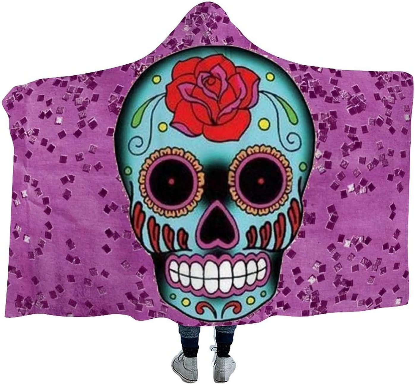 Purple Skull Wearable Velvet Hooded OFFicial Soft Throw Blanket Super Wa Ranking TOP13
