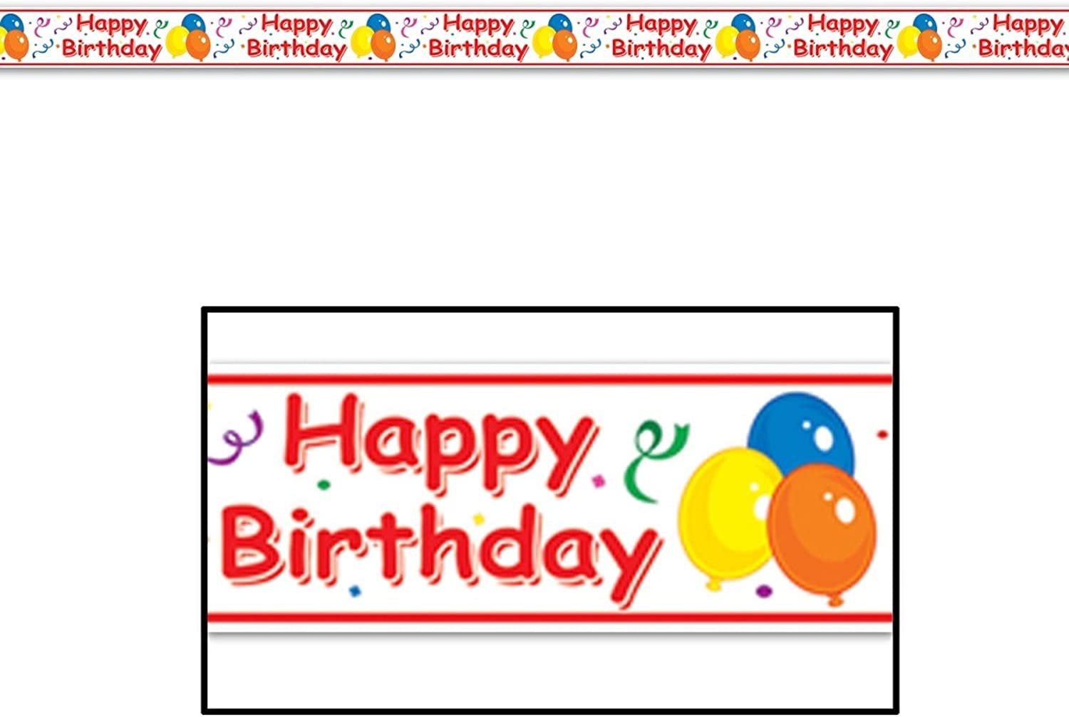 Club Pack of 12 Red, White,Yellow, bluee, and orange ''Happy Birthday'' Party Tape 3  x 20'