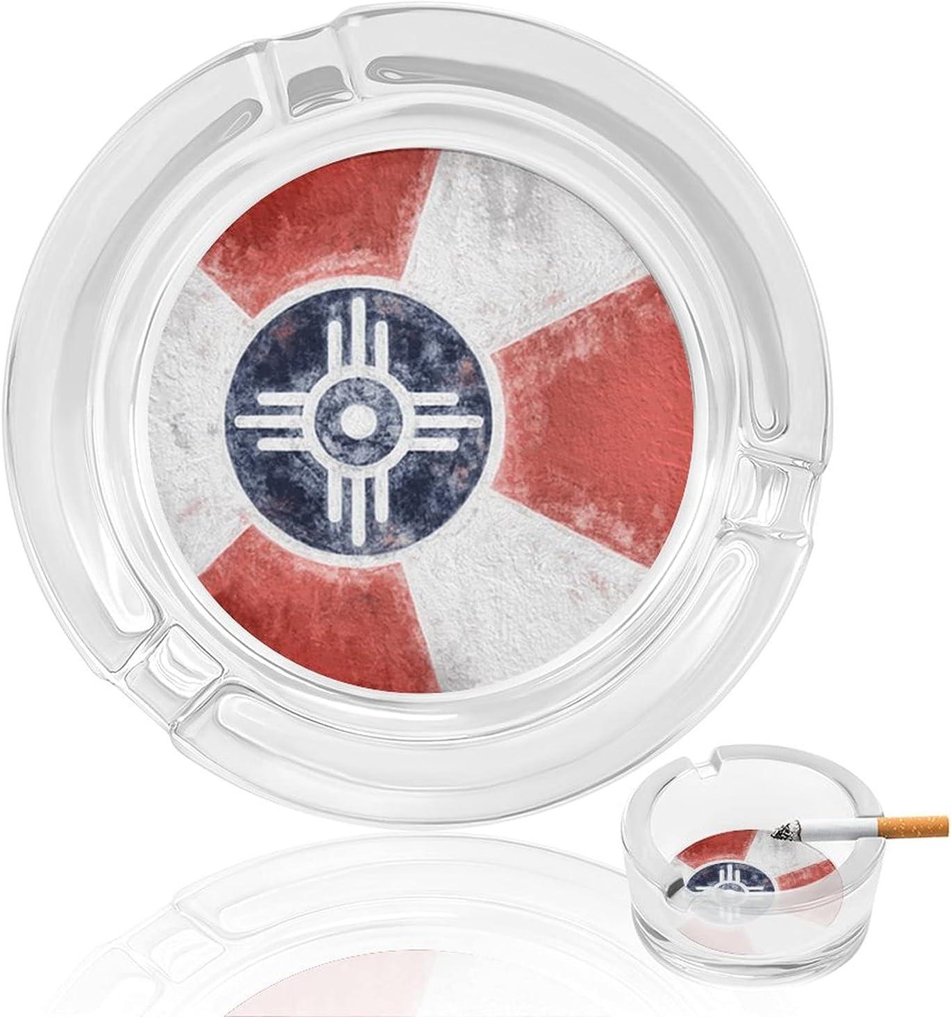 Flag Of Wichita Sale Kansas Smoking Glass Outlet SALE Ashtray Cigarette Ash Cigar