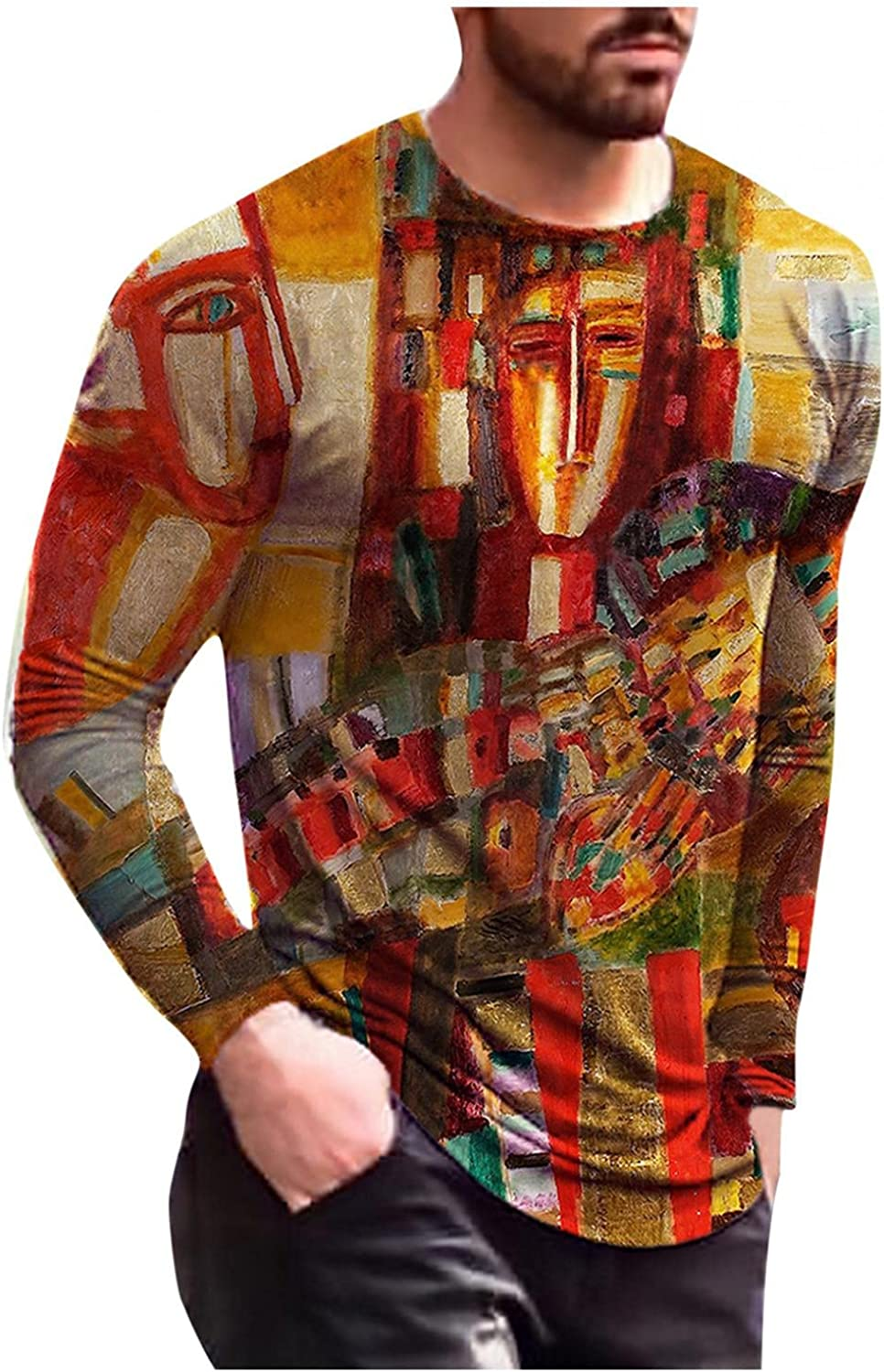 Aayomet Men's T-Shirts Abstract Graphic Long Sleeve Round Neck Sweatshirts Casual Workout Sport Tee Shirts Blouses Tops