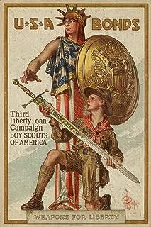 USA - Third Liberty Loan Campaign - Boy Scouts of America - (artist: Leyendecker c. 1918) - Vintage Propaganda (12x18 Fine Art Print, Home Wall Decor Artwork Poster)