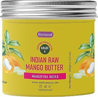 BONSOUL Indian Organic Mango Seed Butter   Raw, Unrefined   Dry Skin, Hands, Body Moisturizer   (100 GMS-Glass Jar) (100 GMS)