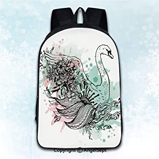 Durable Double Shoulder Bag Rucksack,Animal Hand Sketch Swan Bird Floral Details and Color Splashes Watercolors Mint Green Light Pink Black 16 inches,Multipurpose Use Travel Backpack