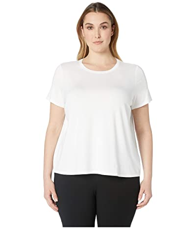 Eileen Fisher Plus Size Lightweight Viscose Jersey Round Neck Cap Sleeve Tee (White) Women