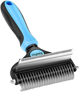 MalsiPree Pet Grooming Brush for Dogs/Cats, 2 in 1 Deshedding Tool& Dematting Undercoat Rake for Mats& Tangles Removing, R...