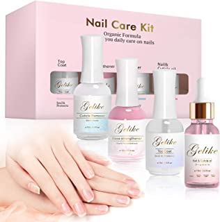 Gelike Nail Recovery Kit, Cuticle Remover, Nail Strengthener Base Coat, Cuticle Oil, Top Coat,Nail Repair Treatment and Nail Cuticle Care Protecton for Damaged Nails, 0.5oz (Pack of 4)