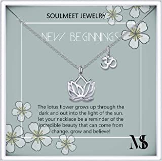 Sterling Silver Lotus Flower Necklace for Women Girls Yoga Lovers, Jewelry Gifts for Mother Daughter Sister Friend