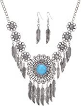 Wcysin Handmade Carved Flower Silver Antique Vintage Feather Necklace Earring Set Sweater Chain Pendant Jewelry for Women Girls