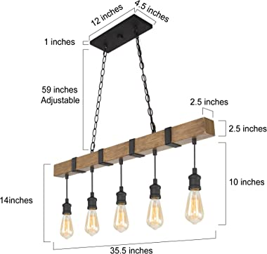 LOG BARN Kitchen Light Fixtures, Farmhouse Chandelier for Kitchen Island in Rustic Faux Wood with Black Wires, 5-Light Pendan