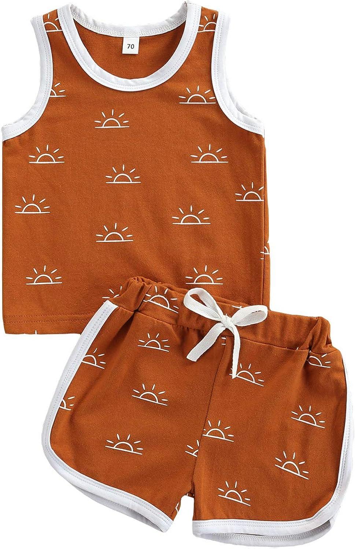 Infant Max 81% OFF Toddler Baby Boy Outfits Tank Sun Nashville-Davidson Mall Print Vest+Drawstri Top