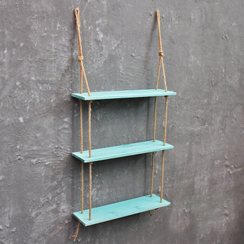 Hemp Rope Storage Rack Wooden Wall Decoration Creative DIY Wall Shelf (color   bluee, Size   L)