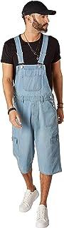 Wash Clothing Company Mens Cargo Pocket Denim Dungaree Shorts - Palewash Short Bib Overalls