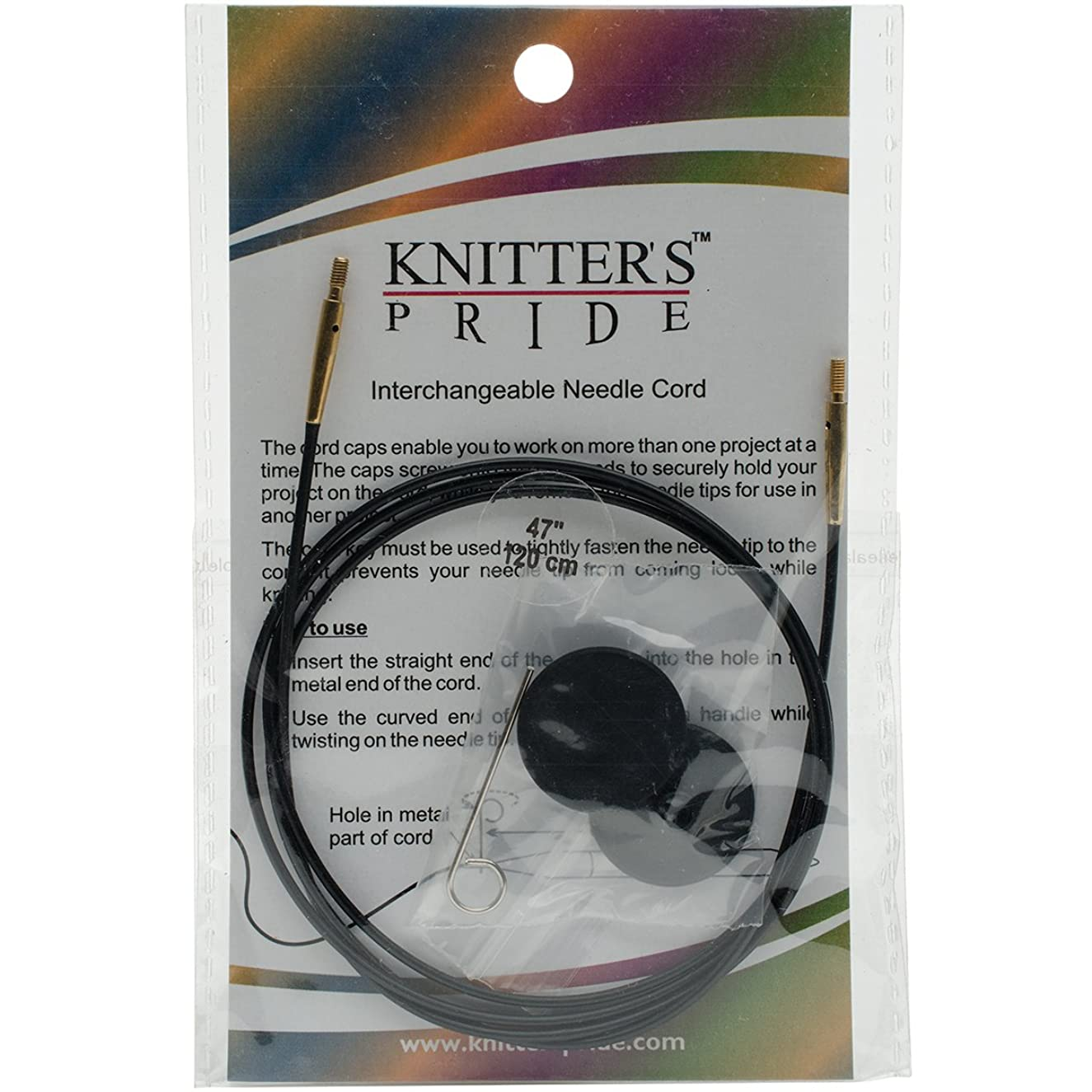 Knitter's Pride Interchangeable 37-inch (94cm) Black Gold Cord; makes 47