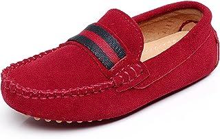 dbc5880bf18133 Shenn Fille Garçon Glisser Sur Mignonne Avec Rubans Suède Mocassins  Appartements Chaussures