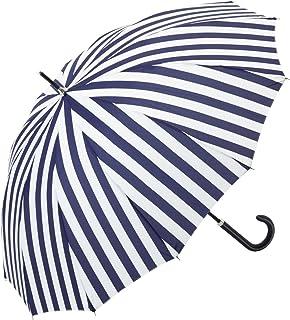 ビコーズ ユースフル ストライプ 全3色 長傘 手開き 日傘/晴雨兼用 ネイビー 12本骨 55cm グラスファイバー骨 BE-36527 [正規代理店品]