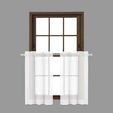 Bathroom and More Collection SHEER 2 Piece Silver/Light Gray Window Curtain Café/Tier Set: 3-D Small Soft Tufts Design, 36in Long Each (Pair (2) Tiers 36in L Each)