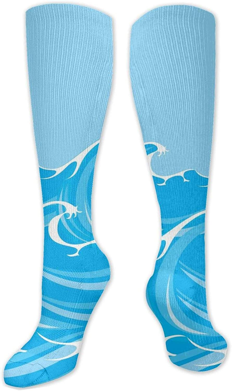 Blue Wave Knee High Socks Leg Warmer Dresses Long Boot Stockings For Womens Cosplay Daily Wear
