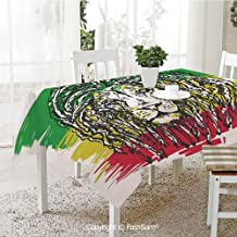 AmaUncle 3D Dinner Print Tablecloths Ethiopian African Culture Hair Style Lion Portrait Grunge Backdrop Decorative Kitchen Rectangular Table Cover (W60 xL104)