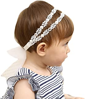 Best Baby Girl Super Elastic Headband,Cotton Lace Toddler Hair Band,Infant Soft Turban Hair Accessories Set Review