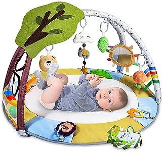 Tapis d Eveil pour Bébé avec 9 Jouets, Lupantte Tapis d'Eveil pour le Développement des Sensorielles et Cognitif, Tapis de...