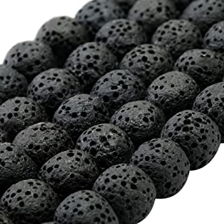 SUNYIK Black Lava Rock Essential Oil Diffuser Stone Loose Bead for Jewelry Making 8mm 14""