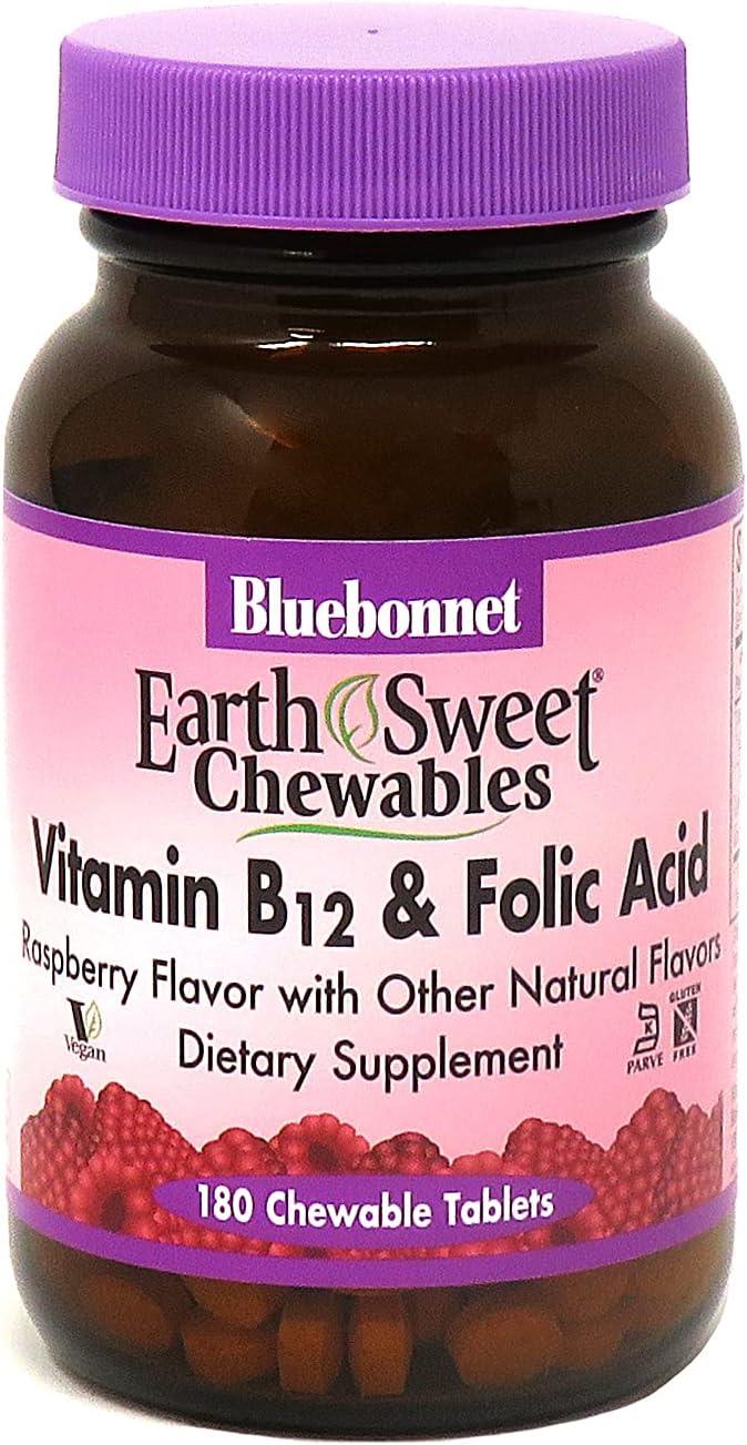 BlueBonnet Nutrition Earth Outstanding Sweet Vitamin Acid Chewab NEW before selling ☆ B12 Folic