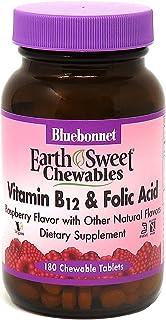 BlueBonnet Nutrition Earth Sweet Vitamin B12 & Folic Acid Chewable Tablets, Cream Raspberry 180 Count (Pack of 1)