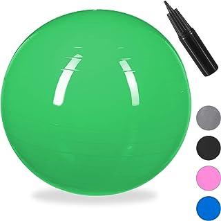 Relaxdays Balón para Ejercicios de Fitness, Pelota de Pilates, Equilibrio, con Bomba de Aire, Ø 65 cm, 1 Ud, Verde, Unisex Adulto