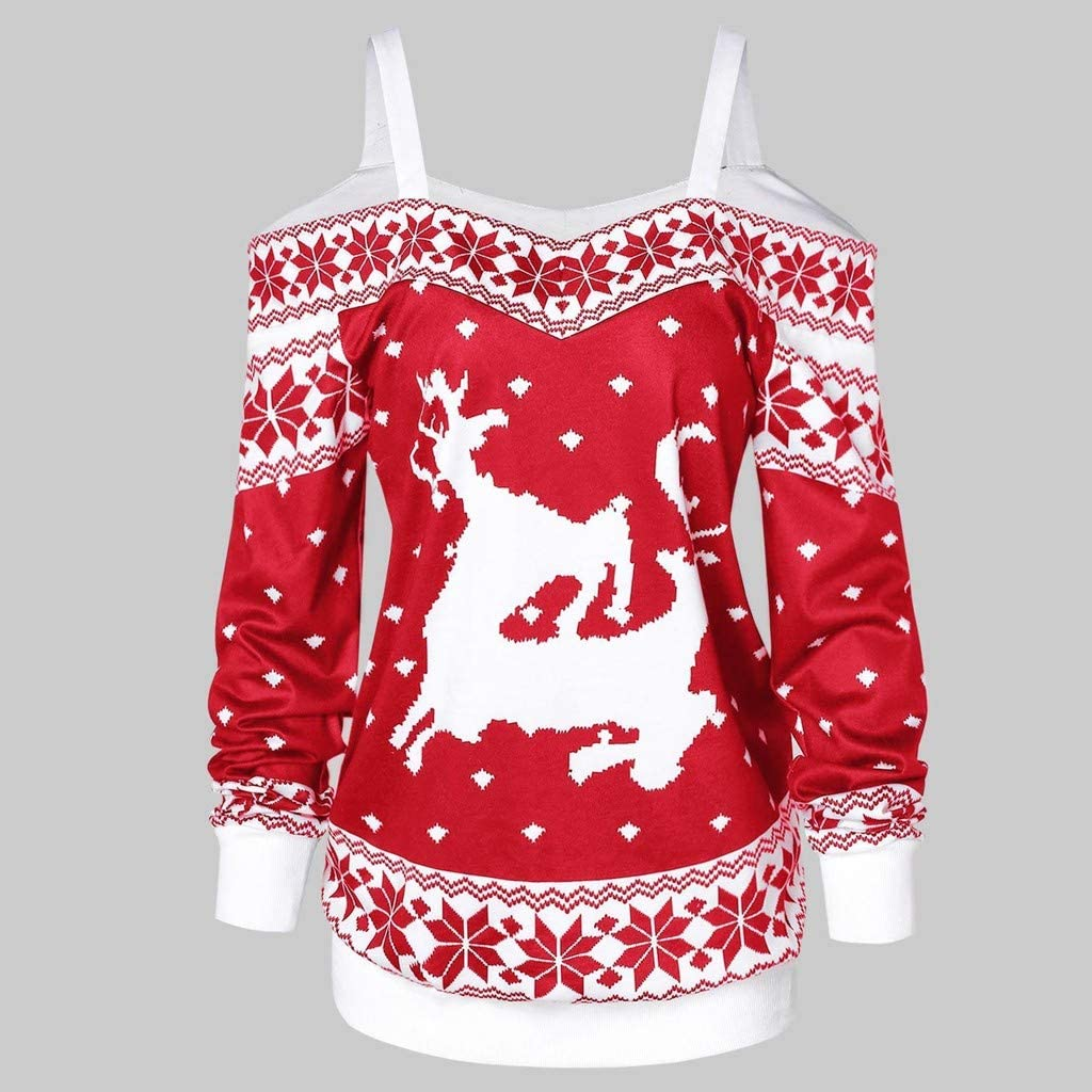 Womens Long Sleeve Cold Shoulder Tunic Tops Blouse Shirts Reindeer Snowflake Casual Knit Sweater Jumpers