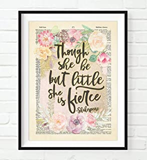 William Shakespeare Quote, Though She Be but Little She Is Fierce Art Print, Unframed, A Midsummers Night's Dream Vintage Highlighted Dictionary Page Wall Art Decor Poster Sign, All Sizes