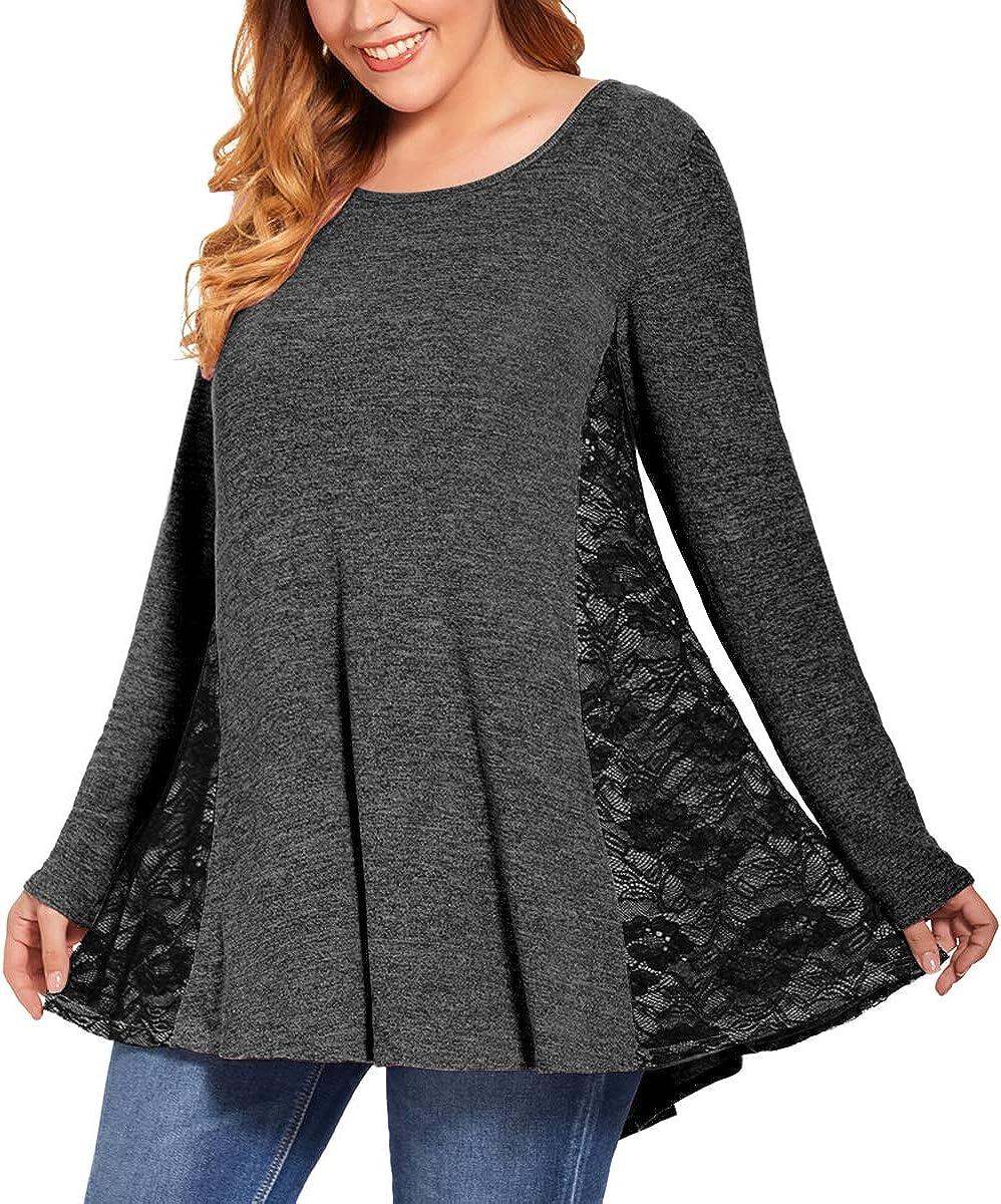 MONNURO Womens Long Sleeve Lace Sweatshirt Tunics Casual Loose Fall Tops Plus Size