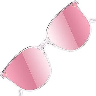 ATTCL - Gafas de sol redondas grandes con protección UV400 Marco TR90