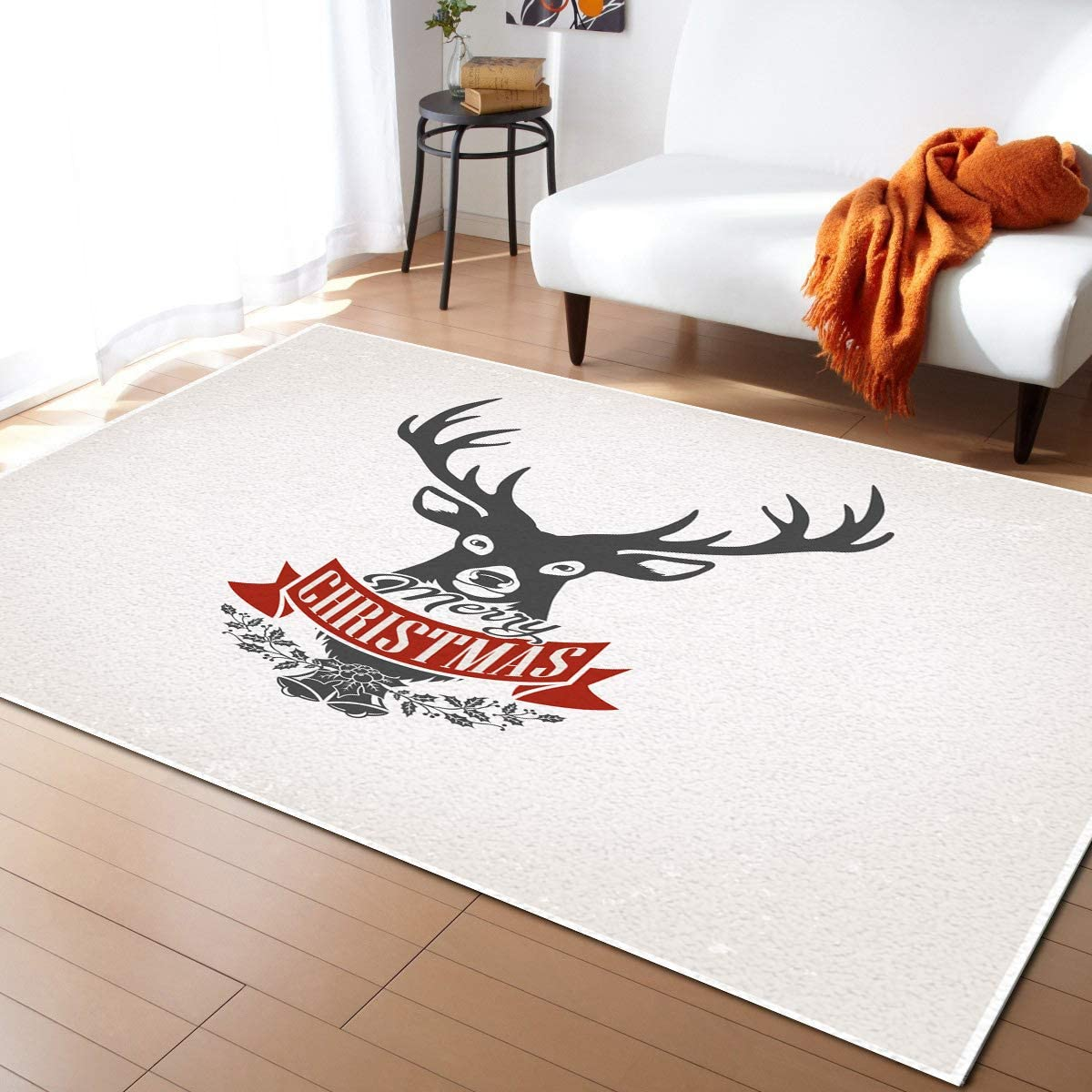 Area Rugs Bargain sale Non Slip 4 years warranty Indoor Floor Christmas Carpet Head Elk Merry