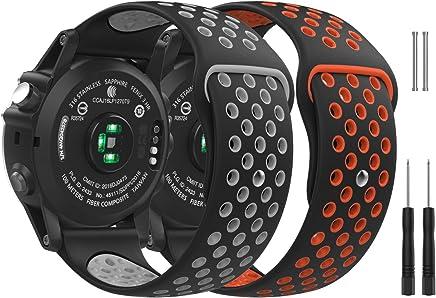 MoKo Correa para Garmin Fenix 3/Fenix 3 HR/Fenix 5X/5X Plus/D2 Delta PX SmartWatch, [2PACK] Premium Silicona Banda Bracelete Pulsera, B