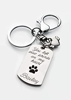 Personalized Pet Memorial Keychain You left paw prints on my heart with custom engraved with name