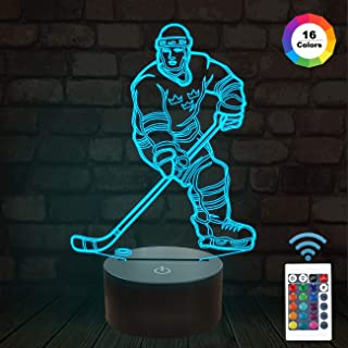 FULLOSUN Night Lights for Kids Ice Hockey Athlete Illusion 3D Night Light Bedside Lamp 16 Colors Changing with Remote Control Best Birthday Gifts for Child Baby