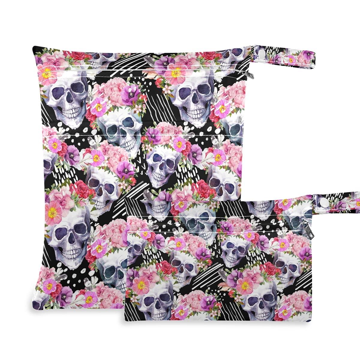 Regular dealer Skulls Very popular! Flowers Wet Dry Bag Diaper Swimsuits for Reusable
