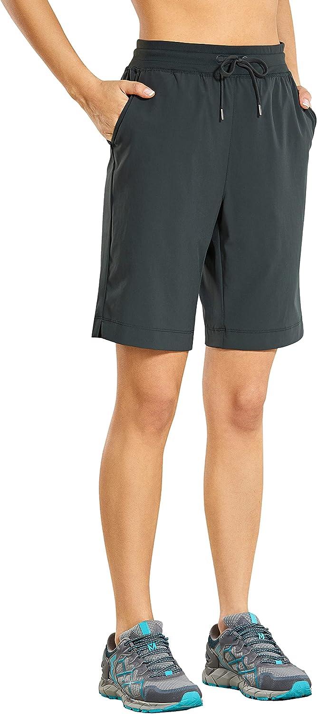 CRZ YOGA Women's Lightweight Athletic Shorts Max 59% OFF Elastic Cheap mail order shopping Wai Bermuda