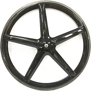 JIMAITEAM Carbon Fixed Gear 700c Tri Spoke 5-Spoke Rim Rear & Front Single Speed Fixie Bicycle Wheel Clincher Type 50mm Depth 21mm Width Track Bike Wheel