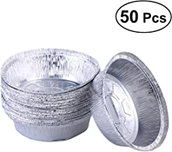 BESTONZON 50pcs 6 Inch Aluminum Foil Plate Disposable Round Food Containers,Ideal for Meals Prep, Pies, Cakes, Meats (No Lids)