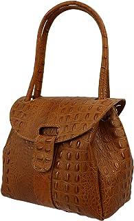 SH Leder Echtleder Schultertasche Handtasche Genarbte oder Krokoprägung Leder 27x21cm Vanessa G222