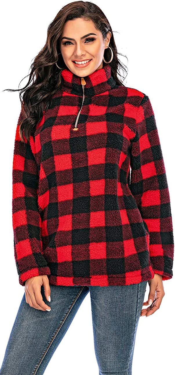 Les umes Womens Long Sleeve Mock Neck Polar Fleece Lined Sherpa 1/4 Zipper Jacket with Front Kangroo Pocket