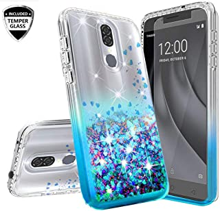 Galaxy Wireless Coolpad Legacy Case (Not Go Version) w/Tempered Glass Screen Protector Liquid Quicksand Glitter Cute Bling Sparkly Phone Case Girls Women Cases for Coolpad Legacy 6.4inch - Clear/Aqua