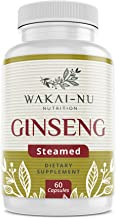 Wakai-Nu Steamed Ginseng with Turmeric Curcumin Dietary - 675mg Per Serving, 60 Capsules– Made with Natural Supplement, Herbal Capsule for Enhanced Cognitive Function