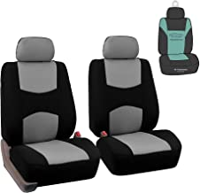 FB050102 Pair Set of Universal Front Seat Covers, Airbag Compatible Gray/Black- Fit Most Car, Truck, SUV, or Van