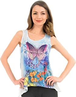 Sweet Gisele Colorful Butterfly Ladies V-Neck 3D Graphic Butterfly T-Shirt w/Rhinestones