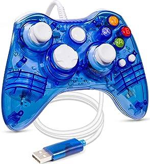 ioshare xbox 360 コントローラー PC USB コントローラー 有線 ゲームパッド ケーブル Windows PC Win7/8/10に対応 二重振動 (透明ブルー)